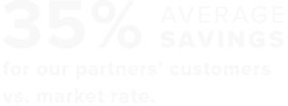 35% average savings for our partners' customers vs. market rate