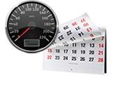 speedometer and wall calendar