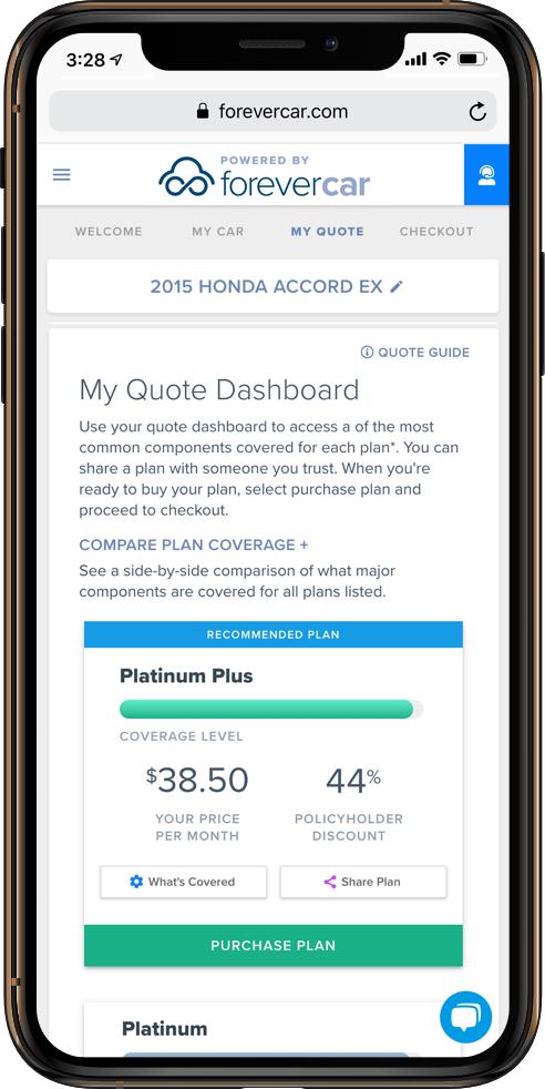 ForeverCar Mechanical Repair Coverage Payment Screenshot
