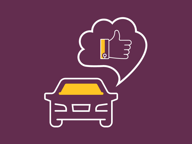 Repaired car with thumbs up thought bubble graphic